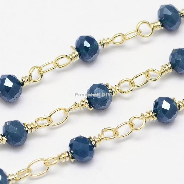 Handmade Electroplate Glass Beaded Chains for Necklaces Bracelets Making, with Golden Tone Brass Eyepins, MarineBlue, 12x4~4