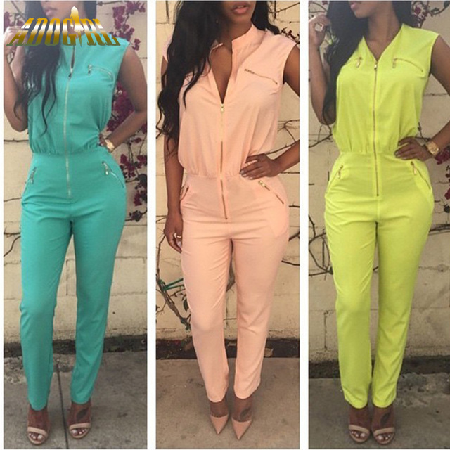 Adogirl Overalls For Women Long Pants Sleeveless Rompers Womens Jumpsuit Macacao Feminino Sexy Women Zipper Bodycon Jumpsuit