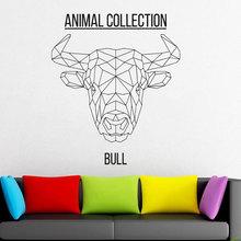 Geometric Bulls Head Vinyl Sticker Animals Anime Wall Decal Scandi Minimalistic  Monochromatic DIY Murals JH04