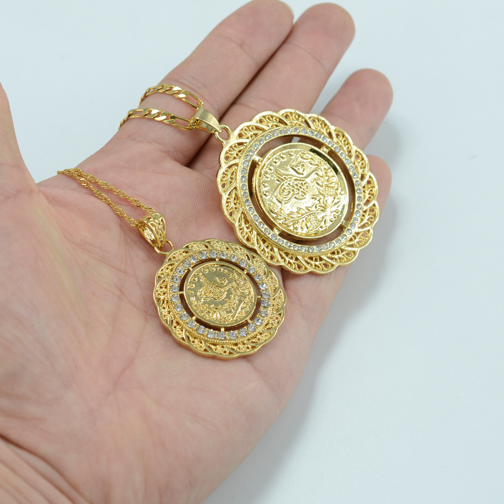 medal gold coin jesus iced round pendants pendant out