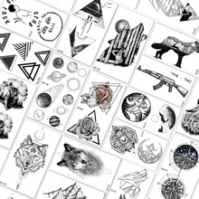 f8c4224d3 QUCIOUS Geometry Triangle Round Temporary Tattoos Waterproof Rose Wolf  Tatoo Sticker For Men Women Arm Neck