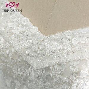 Image 4 - Bordado vintage uma linha de renda vestido de casamento boné manga v pescoço lantejoulas pérolas frisado plus size mariage vestido de casamento wx0109