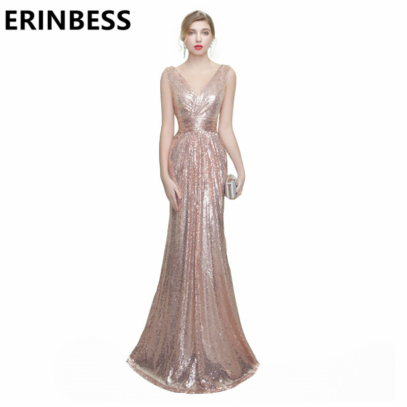 ERINBESS Long Floor Length Champagne Sequined Bridesmaid Dresses Sexy V Neck Cap Sleeve Mermaid Formal Party Gowns For Women