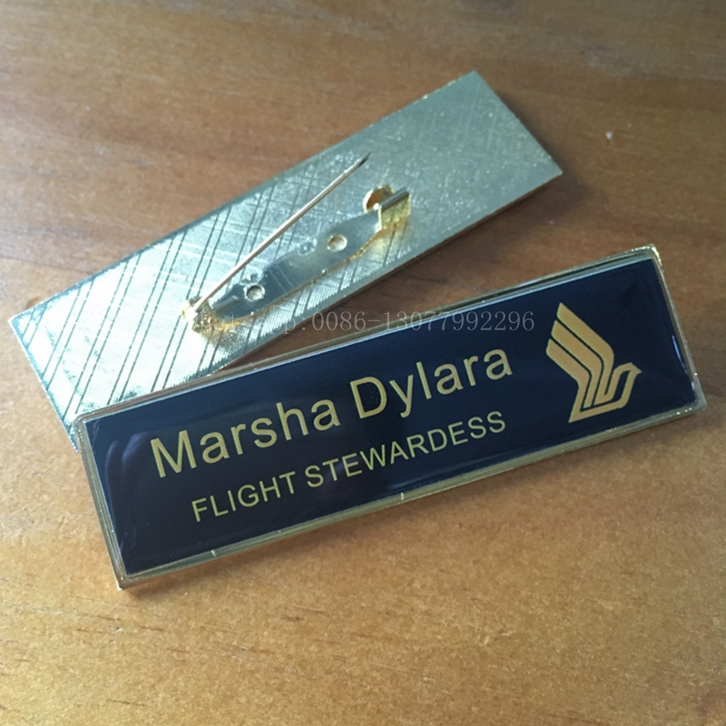 Us 165 10pcs Custom Metal Name Badge 7020mm Aluminum Gold Name Tag With Safety Pin Personalized Employee Logo Printing Badge Holder In Badge