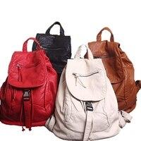 Женская мода путешествия рюкзак Академии ветер книга рюкзак мыть мягкой кожаная женская сумка
