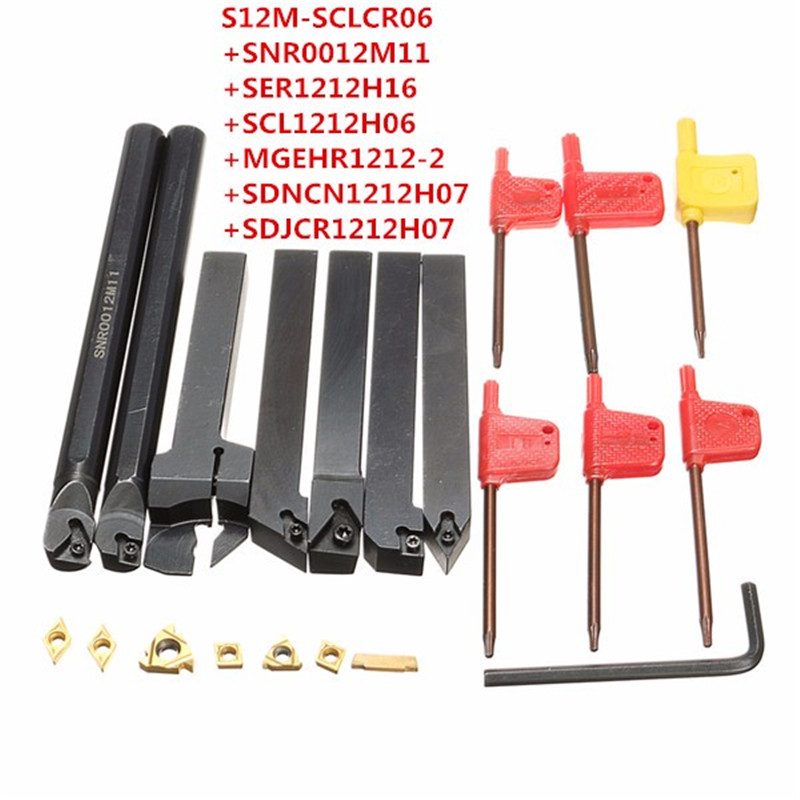12mm 21Pcs/Set Shank Lathe Turning Tool Holder Boring Bar +Insert+Wrench S12M-SCLCR06/SER1212H16/SCL1212H06