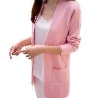 New Women Autumn Sweater 2017 Long Thin Core Pocket Loose Knit Sweater Outwear Coat