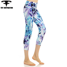 Sports Yoga 3/4 Pants Girl's Slim Printed Elasticity Quick Dry Fitness Leggings Running Tights Women's Training Trousers