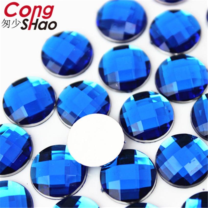 Купить с кэшбэком Cong Shao 12mm 300PCS Colorful Round Stones And Crystals Flatback Acrylic Rhinestone Trim Scrapbook DIY Costume Button CS135