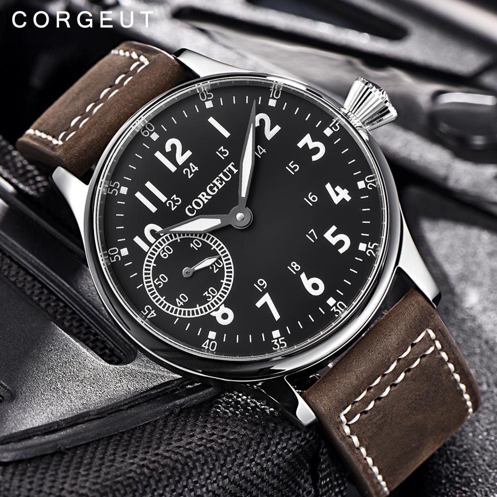 Corgeut 패션 가죽 탑 빛나는 기계 손 권선 시계 17 보석 st3600 갈매기 6497 운동 스포츠 손목 시계-에서기계식 시계부터 시계 의  그룹 3