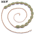 2017 New Green Rhinestones Chain Belts For Women Brand Designer Belts Wedding Waist Chain Luxury Belly Dance Waistband