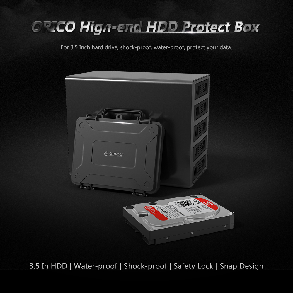ORICO 3.5 Inch HDD Protection Box with Water-proof Shock-proof Dust-proof Function Hard Dreiver Case Safety Lock Snap Design