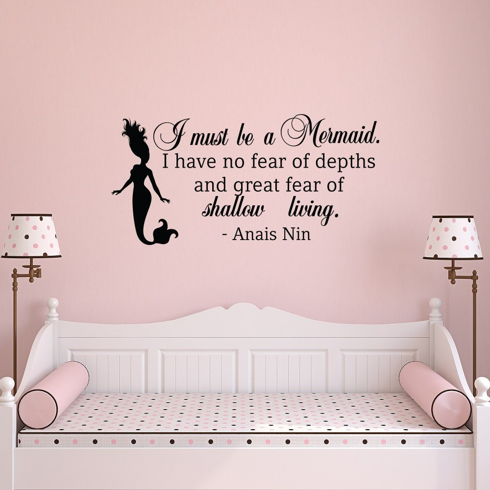 compare prices on baby cute quotes online shopping buy low price wall decal quote i must be a mermaid little mermaid wall decals print new baby
