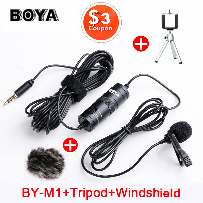 BOYA BY-M1 Lavalier Condenser Microphone for Canon Nikon DSLR Camcorders, Studio microphone for iPhone X 7 Plus Zoom H1N Handy(China)