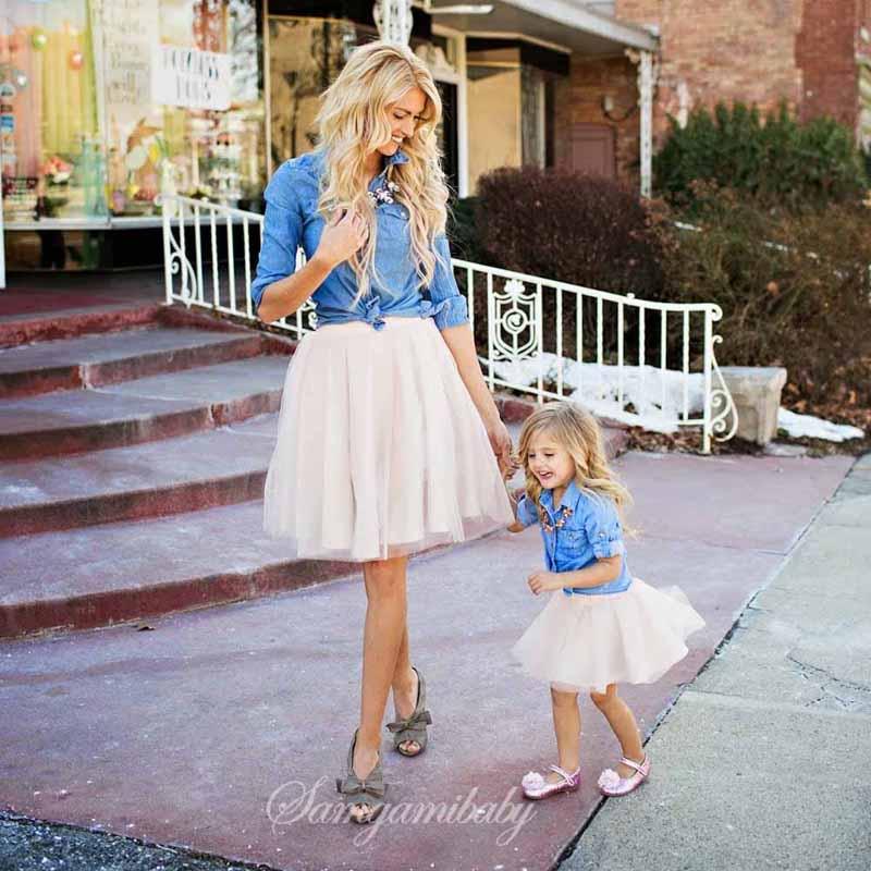 new Parenting cowboy clothes suit Denim shirt + white Short skirt fashion mother Mom and kids girls High-quality Set 2 pcs Dress