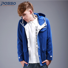 England style blue jacket hoodies men cotton jacket fashion hiphop hooded casual hoodies men multiple pocket loose fashion coat