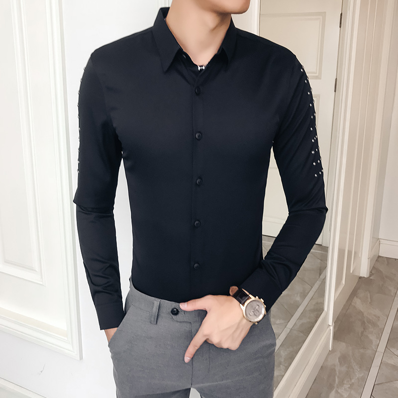 Autumn New Male Shirt Brand Designer Rivets Design Shirt Men Slim Fit Long Sleeve Casual Night Club Prom Shirts Dress Tuxedo 3XL