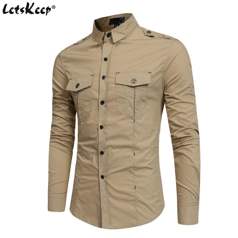 2018 LetsKeep A armée hommes chemise à manches longues couleur unie chemises hommes robe hommes militaire chemise vêtements taille américaine S-XL, MA475