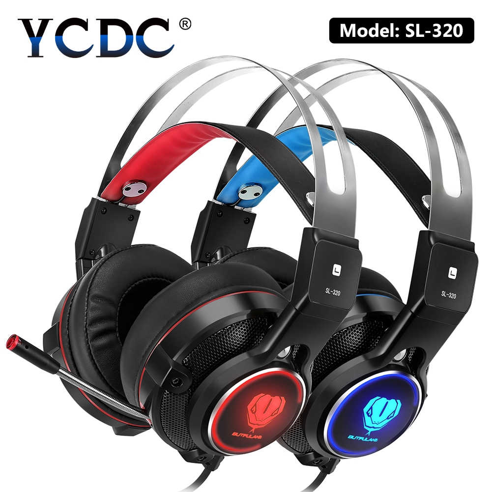 YCDC for iPhone Computer Stereo Gaming Headphones Best casque Deep Bass Game Earphone Headset with Mic LED Light for PC Gamer best computer gaming headphone headset over ear game headphones stereo deep bass led light with mic for computer pc