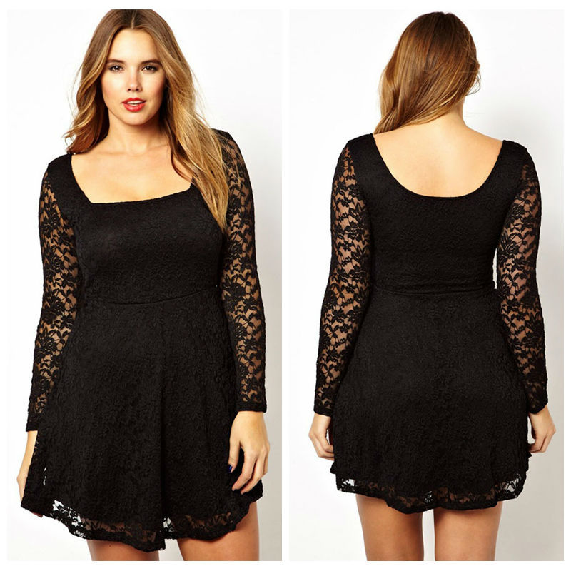 2016 Women Casual Mini Dress Feminino Vestido Plus Size Black Lace