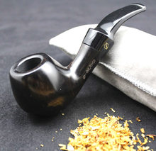 Tubo de fumo de ébano, ferramentas elegantes masculinas de madeira de ébano de alta qualidade com filtro de 9mm 482y