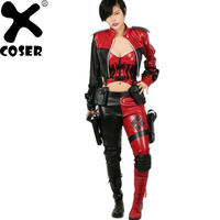 XCOSER Harley Quinn Costume Injustice 2 Cosplay Suit Sexy Lady PU Leather Full Outfits Halloween Costume for Women Adult Size
