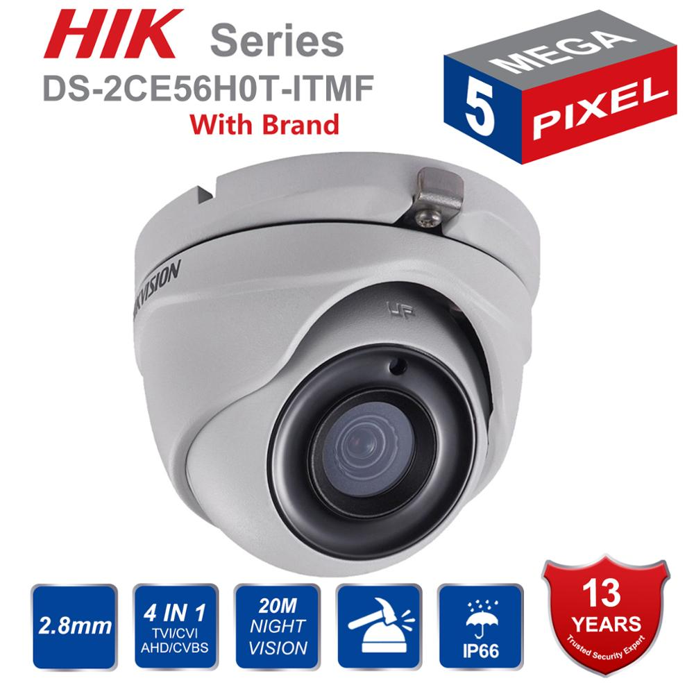 HIK Original 5MP Analog Turret Camera DS-2CE56H0T-ITMF 5  Megapixel High-Performance CMOS EXIR CCTV Camera System 20M IR 3-Axis
