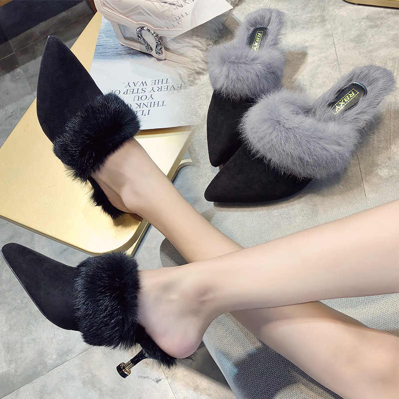 6f7d1d45a2cc Winter closed pointed toe plush mules slippers women 3 colors fur high  heels ladies outside fluffy