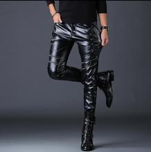 Korean splice motorcycle faux leather pants mens harem personality fashion Punk tight pu trousers for men pantalon homme