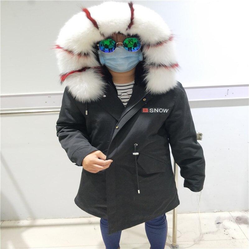 7fe8eca7e64a7 New Silver Fox Fur Parka Coat Men Women Fur Lined Parkas Winter Black Thick  Real Fur Outwear Print Warm Female Casual Outerwear