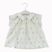 2017 New Summer Flower BP Style Baby Girl Blouse White Floral Tee Tops Blouse Party Petticoat
