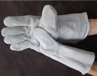 Quality Cow Split Leather Welding Gloves Heat Insulation Satety Protecting Work Glove One Pair Quick Shipment