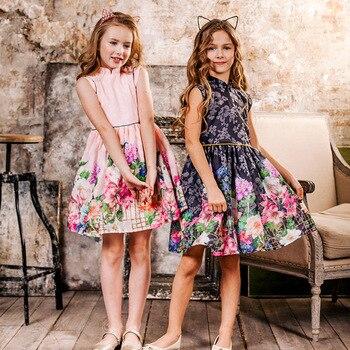 2019 Summer Girls Dress Flower Print Chinese Style Dress Kids Princess Dresses For Girls Children Party Dress 4-14 Years 1