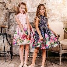 2019 Summer Girls Dress Flower Print Chinese Style Dress Kids Princess Dresses For Girls Children Party Dress 4-14 Years