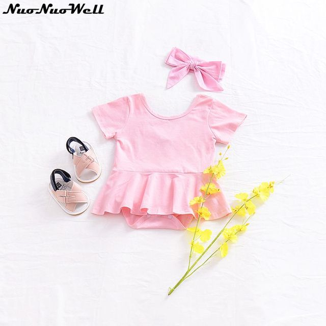 f05510a22f8a Baby Girls Short Sleeve Romper Infant Girl Sweet Romper in Summer Infants  Jumpsuit Cute Baby Girl Clothing 100% Cotton made