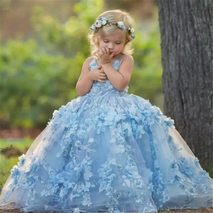 High Quality Sky Blue   Flower     girl     Dresses   Ball Gown 3D   Flowers   Beautiful   Girls   Pageant   Dress   First Communion   Dress   for   Girls