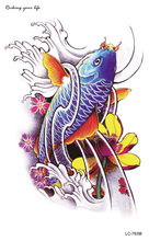 Temporary tattoos Waterproof tattoo stickers body art Painting for party event decoration lotus fish  Wholesale
