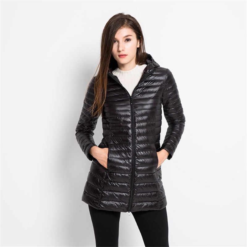 Мода 2019 длинный рукав ультра легкий белый пуховик женский повседневный Осень Зима Тонкий теплый с капюшоном пальто плюс размер Ds50794