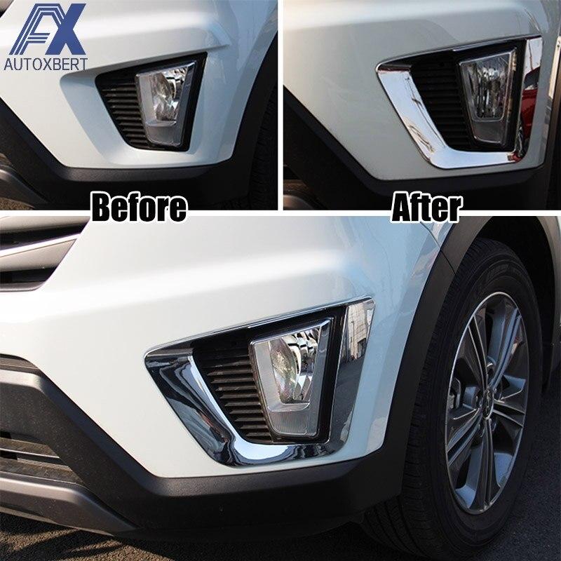 For Hyundai Kona 2018 2019 Chrome Front Fog Light Foglight: AX Chrome Front Fog Light Lamp Cover For Hyundai Creta