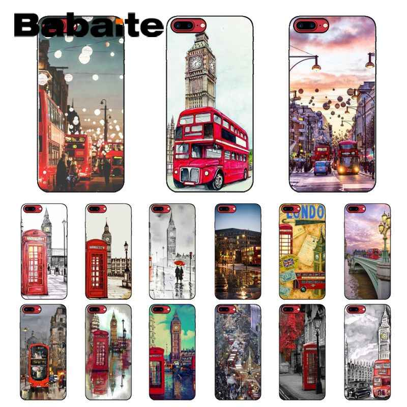 Babaite london bus england telephone vintage Black Soft Phone Cover for iPhone 8 7 6 6S Plus 5 5S SE XR X XS MAX Coque Shell
