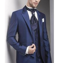 Wonderful Men Suits Custom Made Navy Business Formal Suits Groomsmen Tuxedos Wedding Suits(Jacket+Pants+vest)