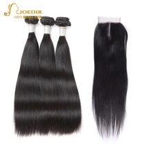 Joedir Buy 3 Bundles Get 1 Closure Free Bundles With Closure Peruvian Straight Hair Non Remy Human Hair Bundles With Closure