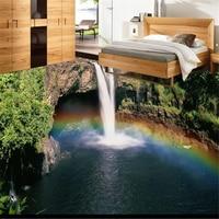 Custom Photo Floor 3d Stereoscopi Pvc Flooring Waterproof Bedroom Rainbow Falls Landscape Wallpaper 3d Floor Tiles