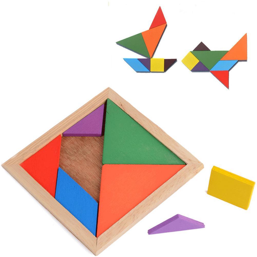 100% Vrai Original Vitoki Marque Coloré En Bois Puzzle Enfants Développement Mental Tangram Jouet éducatif Pour Enfants Cadeau De Noël