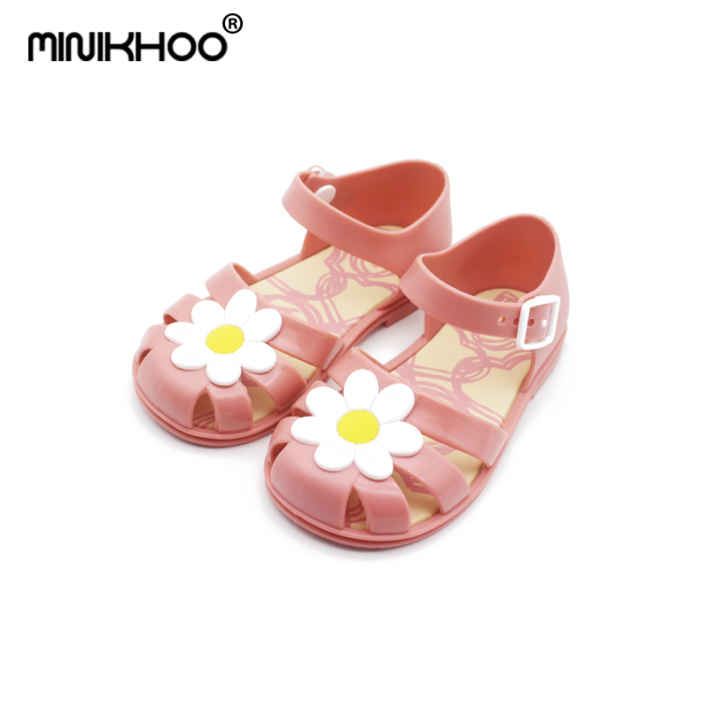 Mini Melissa Chrysanthemum 2018 New Children Shoes Sandals Flowers Children Comfortable Melissa Baby Shoes Buttons Beach Shoes