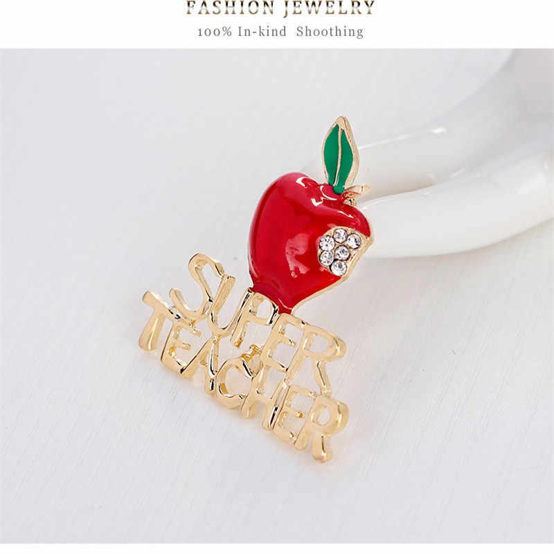 Sitaicery Strass Broche Bonito Maçã Vermelha E Professor Super Emblema Do Pino Do Esmalte Acessórios Casaco de Natal Broche Para As Mulheres Crianças