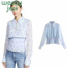 Chiffon Blouse Long Sleeve Floral Print Blouse Turn Down Collar Lady Office Shirt Tunic Casual Loose Tops Plus Size Blusas plus size women blouse fashion long sleeve heart print blouses turn down collar lady office shirt elegant casual loose tops