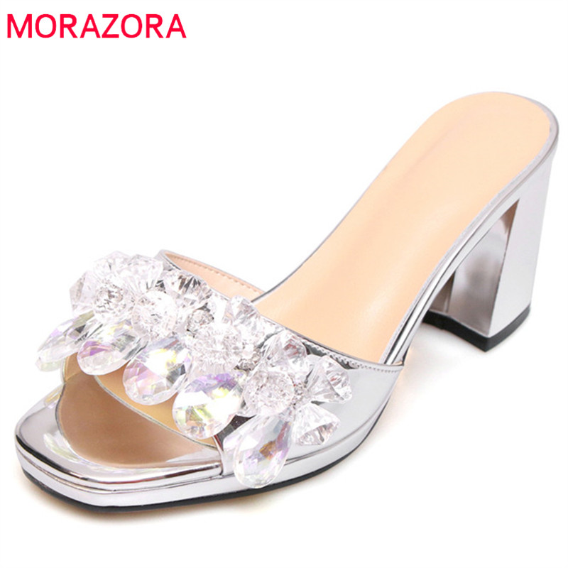MORAZORA 2019 new arrival women sandals square high heels shoes ladies crystal summer shoes slip on