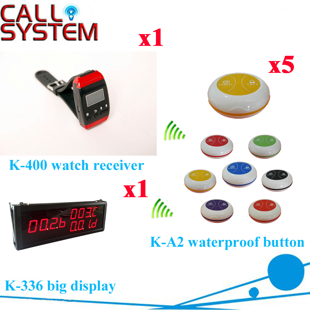 Wireless Pager Restaurant Calling System Hotel Service Pager For Customer Order WIth CE( 1 display+1 wrist pager+ 5 call button)  цены