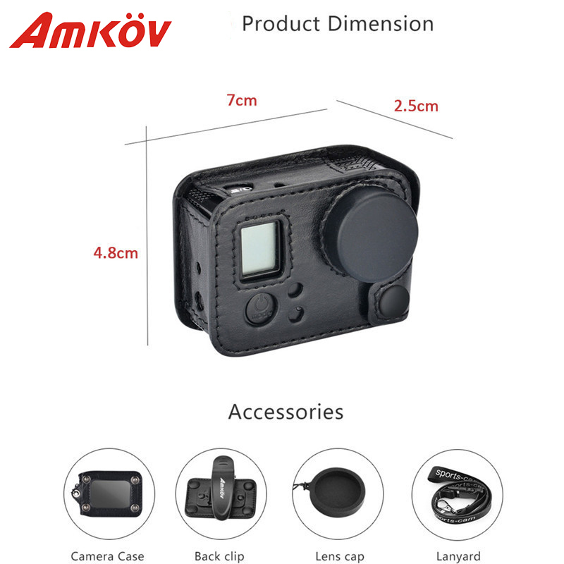 Amkov AMK-GPRO for case gopro hero 3 Leather Action Camera Case for Gopro HERO 3 HERO 4 Protective Frame Go pro Acessorios pj 002 protective silicone case wrist band for gopro hero 3 3 wi fi remote controller blue